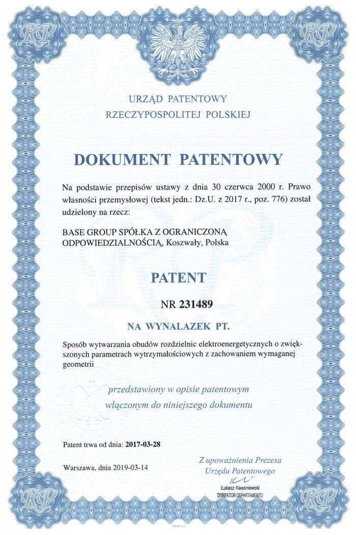 patent na wytwarzanie obudów rozdzielnic elektroenergetycznych
